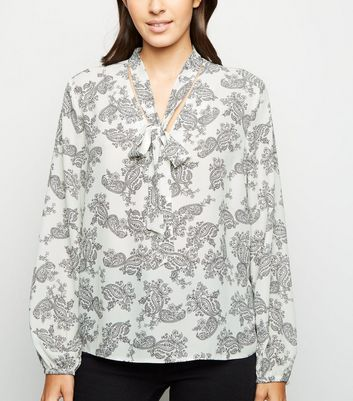White Paisley Tie Neck Blouse