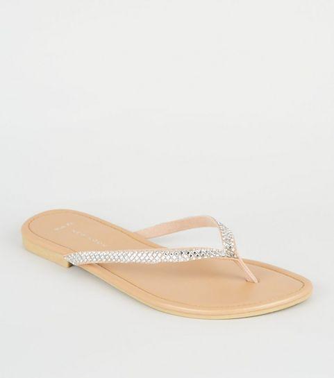 5aa34c276769 ... Wide Fit Nude Diamanté Strap Flip Flops ...