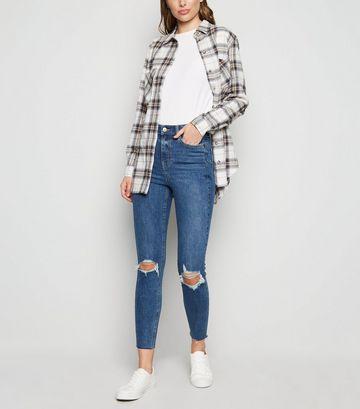 Blue 'Lift & Shape' Ripped Knee Skinny Jeans