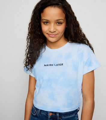 Girls Blue Tie Dye Maybe Later Slogan T-Shirt