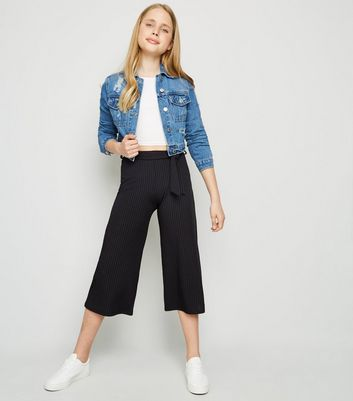 Girls – Gerippte Culottes in Schwarz