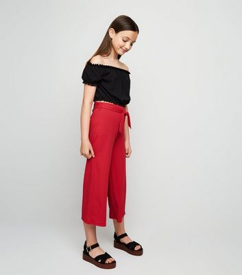 Girls – Gerippte Culottes in Rot