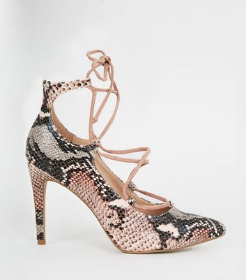 Pink Faux Snake Pointed Lace Up Ghillie Courts