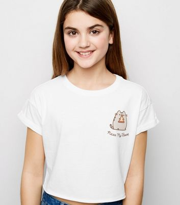 "Girls – Weißes Pusheen-T-Shirt mit ""Pizza My Heart""-Slogan"