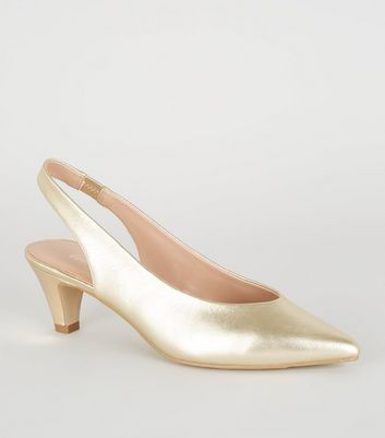 Gold Leather Pointed Slingback Court Shoes