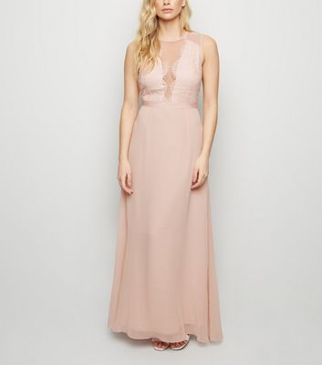 Pink Lace and Chiffon Maxi Dress