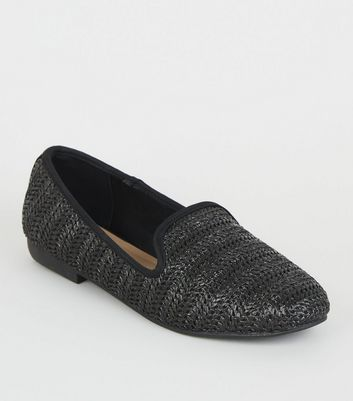 Wide Fit Black Woven Raffia Loafers
