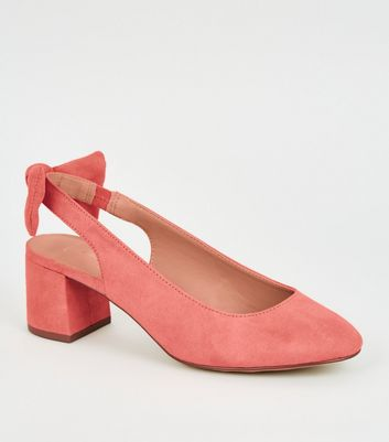 Wide Fit Coral Bow Block Heel Slingbacks