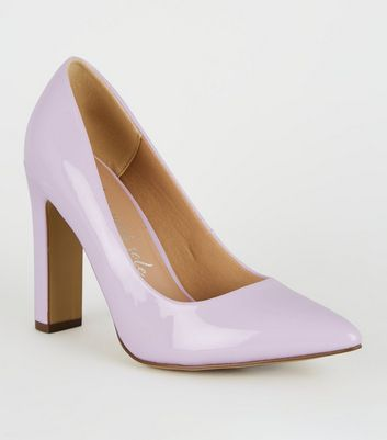 Wide Fit Light Purple Pointed Slim Block Heels