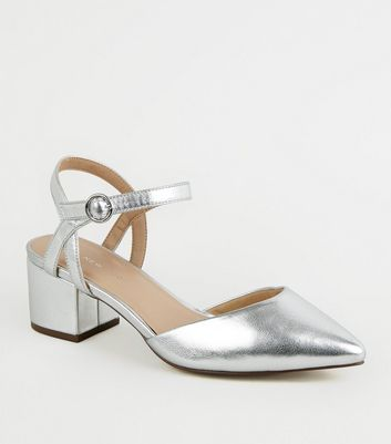 Wide Fit Silver Pointed Low Block Heels