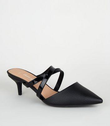 Wide Fit Black Faux Snake Kitten Heel