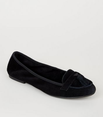 Wide Fit Black Suede Elasticated Loafers