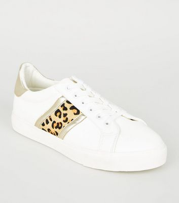 White Leopard Print Leather Stripe Trainers