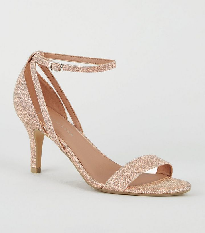 attractivefashion quality products select for authentic Wide Fit Rose Gold Glitter Mid Heel Sandals Add to Saved Items Remove from  Saved Items