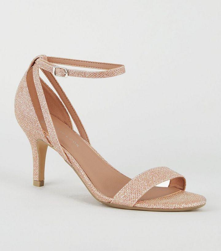 e42466a350e0 Wide Fit Rose Gold Glitter Mid Heel Sandals