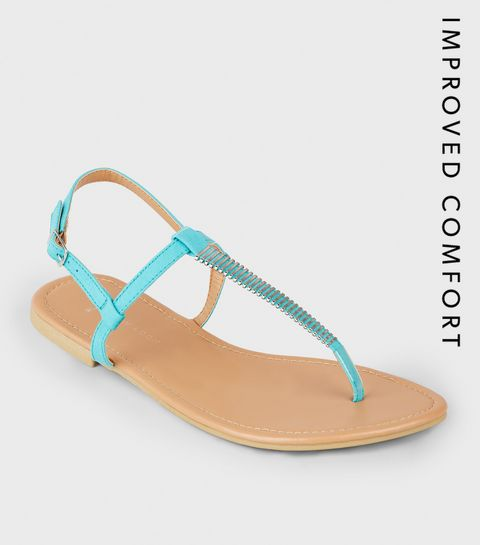 17c55f812 ... Wide Fit Turquoise Bar Strap Flat Sandals ...