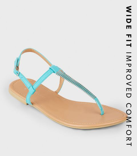 efc80831465 ... Wide Fit Turquoise Bar Strap Flat Sandals ...