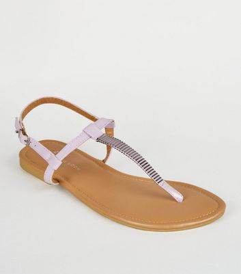 Wide Fit Light Purple Bar Strap Flat Sandals