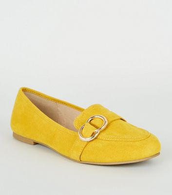 Mustard Suedette Metal Ring Loafers
