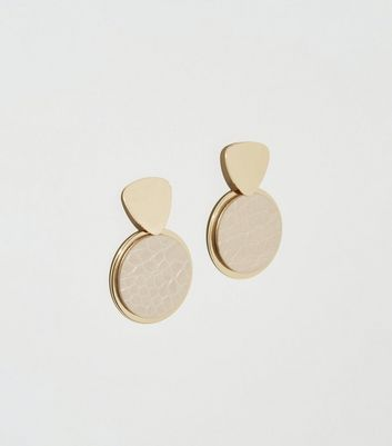 Nude Faux Croc Drop Disc Earrings