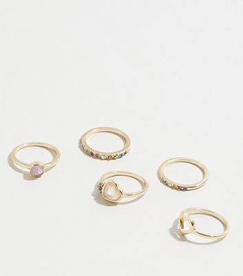 5 Pack Gold Heart Diamanté Rings by New Look