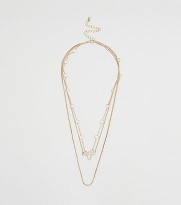 Gold Chain Layered Pendant Necklace