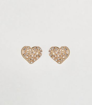Gold Diamanté Heart Stud Earrings