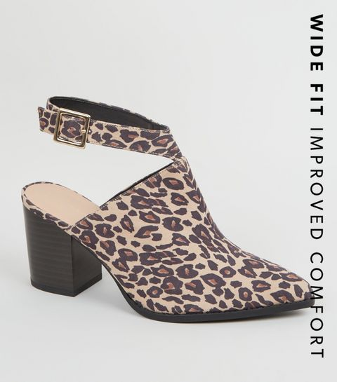 8abf65117b6a ... Wide Fit Stone Leopard Print Block Heels ...