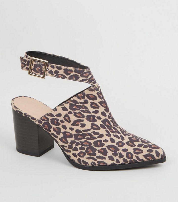 9668eb6f5da2 Wide Fit Stone Leopard Print Block Heels | New Look