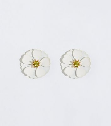 White Flower Gem Center Earrings
