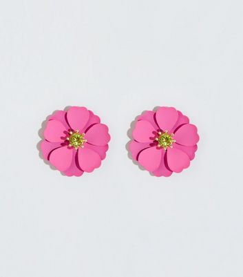 Mid Pink Flower Gem Center Earrings