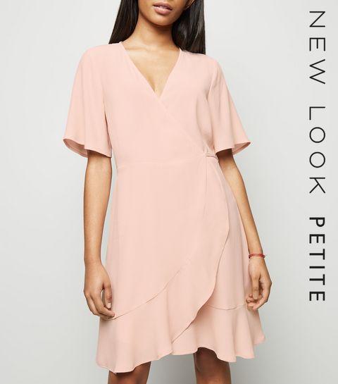 4db536e5e4e2 ... Petite Pink Ruffle Wrap Dress ...