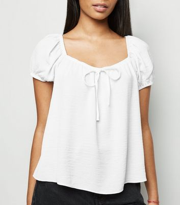 Petite White Tie Front Square Neck Top