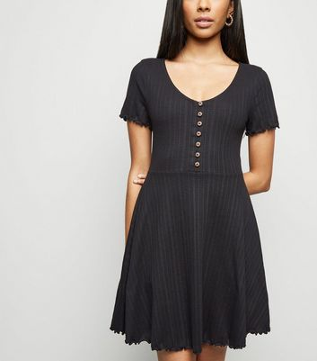 Petite Black Textured Button Up Skater Dress