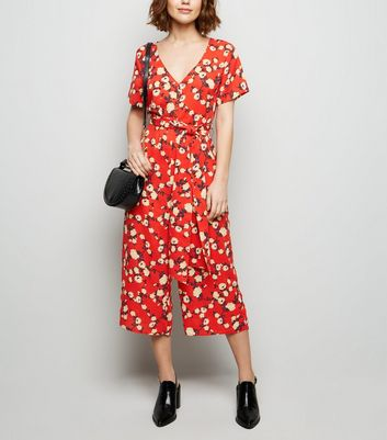 Cameo Rose Red Floral Culotte Jumpsuit