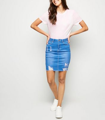 Cameo Rose Bright Blue Ripped Denim Skirt