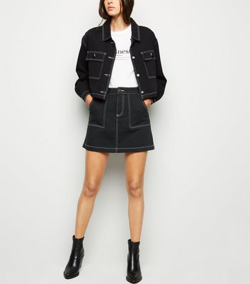 shop for Cameo Rose Black Contrast Stitch Skirt New Look at Shopo