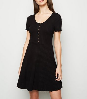 Tall Black Ribbed Button Up Skater Dress