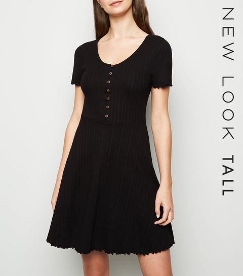 8e6146f4469c ... Tall Black Ribbed Button Up Skater Dress ...
