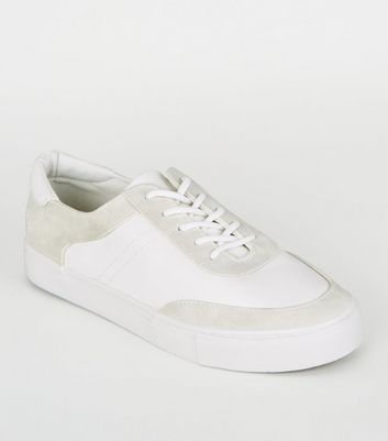 White Leather-Look Suedette Panel Trainers