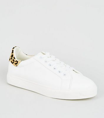 White Leopard Print Leather Back Tab Trainers