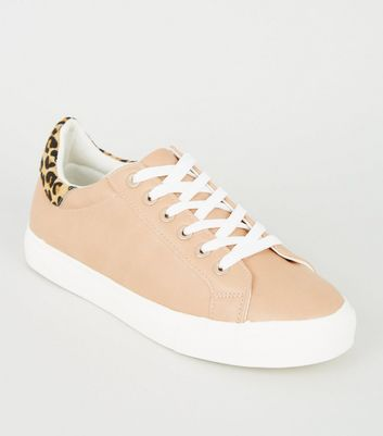 Nude Leopard Print Leather Back Tab Trainers