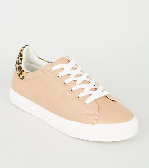 e400c7785cac ... Nude Leopard Print Leather Back Tab Trainers ...
