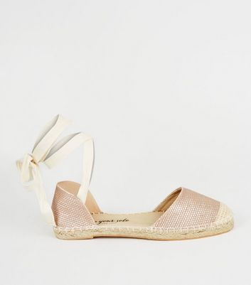 Rose Gold Woven Ankle Tie Espadrilles