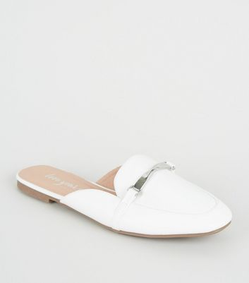 White Leather Look Twist Bar Loafer Mules