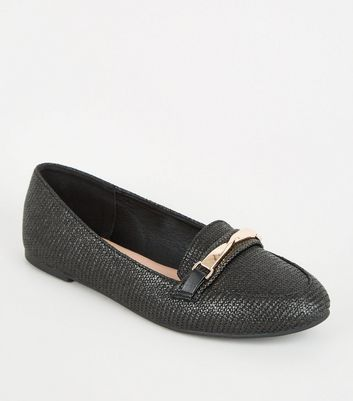Black Woven Twist Bar Front Loafers