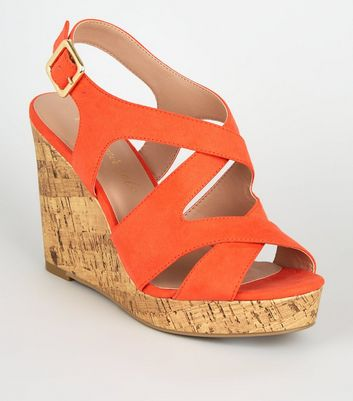 Wide Fit Orange Suedette Strappy Platform Wedges