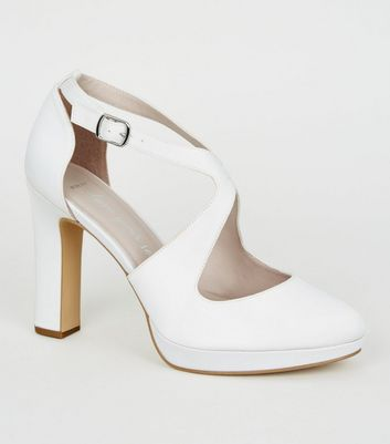 Wide Fit Off White Satin Platform Courts