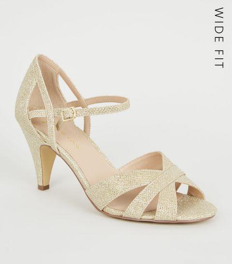 61c4776d72cb ... Wide Fit Gold Glitter Cross Strap Heels ...