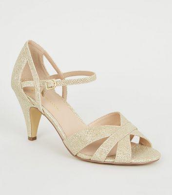 Wide Fit Gold Glitter Cross Strap Heels